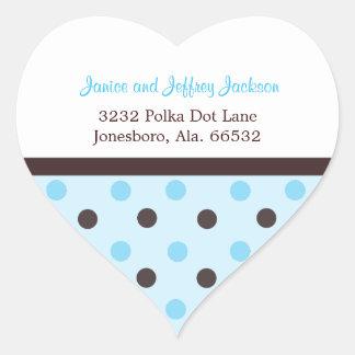 Blue and Brown Polka Dot: Address Sticker
