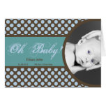 Blue and Brown Polka dot baby boy Thank you card