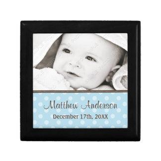 Blue and Brown Polka Dot Baby Photo Keepsake Keepsake Box