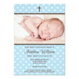 Blue and Brown Polka Dot Cross Boy Photo Baptism Card