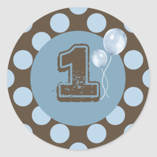 Blue and Brown Polka dot Cupcake Topper Classic Round Sticker