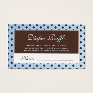Blue and Brown Polka Dot Diaper Raffle Ticket