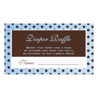 Blue and Brown Polka Dot Diaper Raffle Ticket Business Card