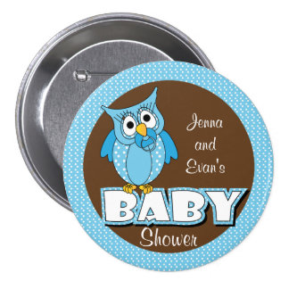 Blue and Brown Polka Dot Owl | Baby Shower Theme Button