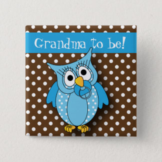 Blue and Brown Polka Dot Owl   Baby Shower Theme Button