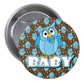 Blue and Brown Polka Dot Owl Baby Shower Theme Pinback Button