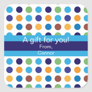 Blue and Brown Polka Dot Personalized Gift Sticker