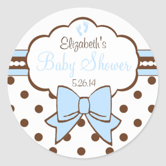 Blue and Brown Polka Dots-Baby Shower Classic Round Sticker