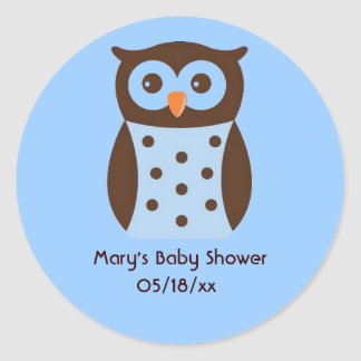Blue and Brown Polka Dotted Owl Sticker