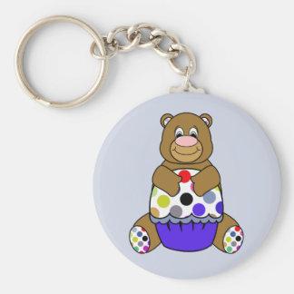 Blue And Brown Polkadot Bear Basic Round Button Keychain