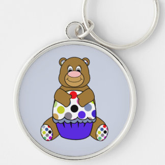 Blue And Brown Polkadot Bear Silver-Colored Round Keychain