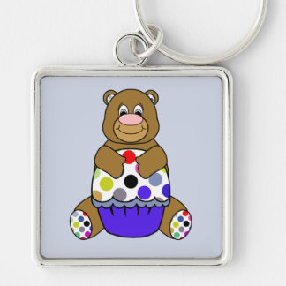 Blue And Brown Polkadot Bear Silver-Colored Square Keychain