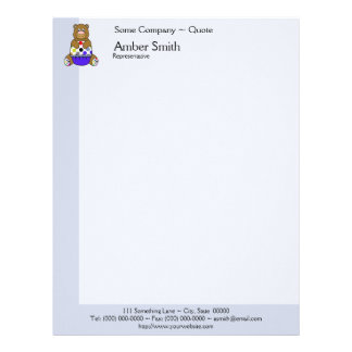 Blue And Brown Polkadot Bear Personalized Letterhead