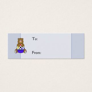 Blue And Brown Polkadot Bear Mini Business Card