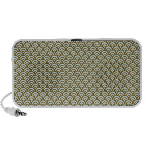Blue and Brown Retro Abstract iPod Speaker