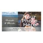 Blue and Brown Sands ~ Beach Wedding Personalized Photo Card