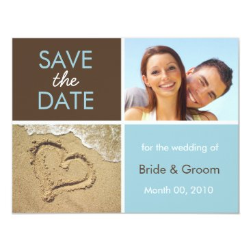 Beach Themed Blue and Brown Save the Date Photo Cards