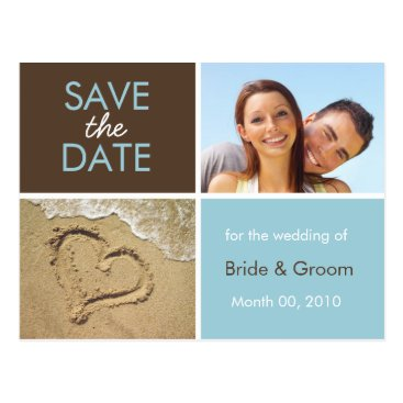 Beach Themed Blue and Brown Save the Date Photo Postcards