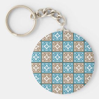 Blue and brown squares pattern keychain