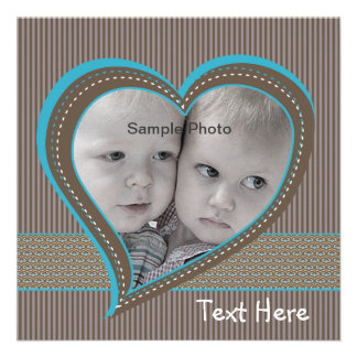 Blue and Brown Stripe Heart Announcement