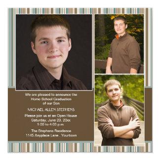 Blue and Brown Stripe Photo Home School Graduation Card