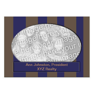 Blue and Brown Striped photo frame Business Card Templates