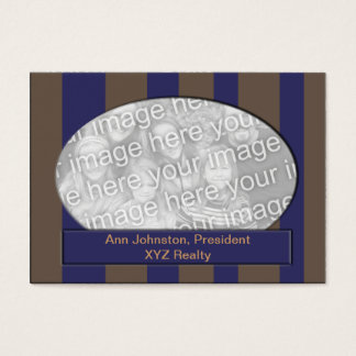 Blue and Brown Striped photo frame Business Card