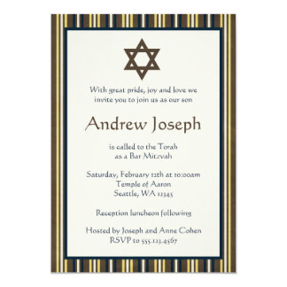 Blue and Brown Stripes Bar Mitzvah Card