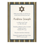 Blue and Brown Stripes Bar Mitzvah Personalized Invite