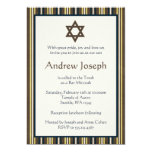 "Blue and Brown Stripes Bar Mitzvah 5"" X 7"" Invitation Card"