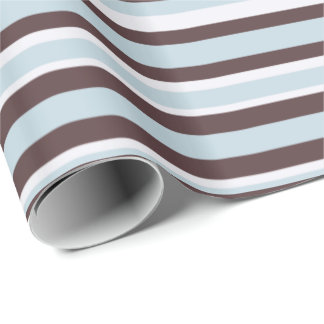 Blue And Brown Stripes Wrapping Paper