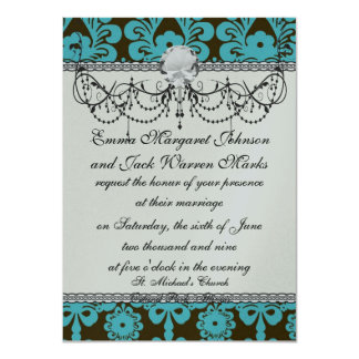 blue and brown swirl ornate damask card
