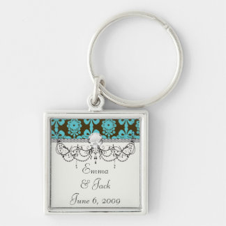 blue and brown swirl ornate damask keychain