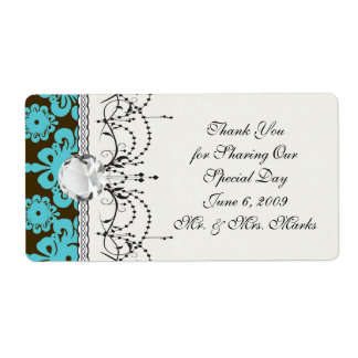 blue and brown swirl ornate damask label