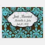 blue and brown swirl ornate damask sign
