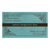 Blue and Brown Swirl Vintage Business Card