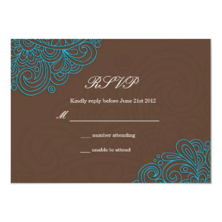 Blue and Brown Swirl Wedding RSVP Card