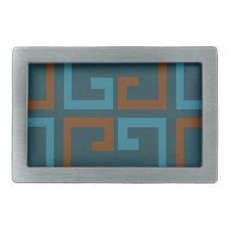 Blue and Brown Tile Belt Buckle