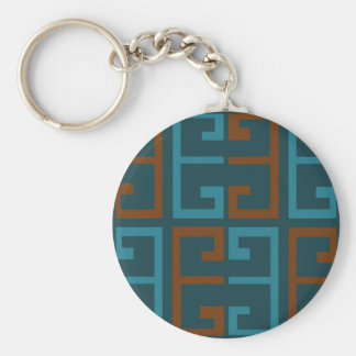 Blue and Brown Tile Keychain