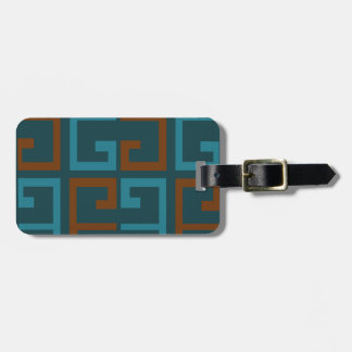 Blue and Brown Tile Luggage Tag