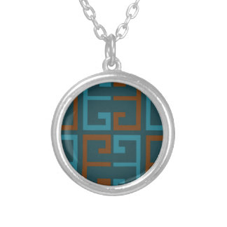 Blue and Brown Tile Silver Plated Necklace