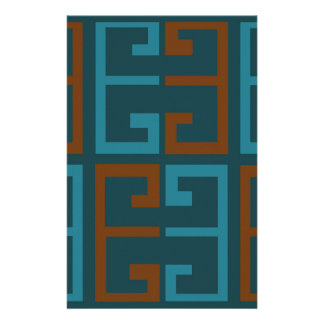 Blue and Brown Tile Stationery