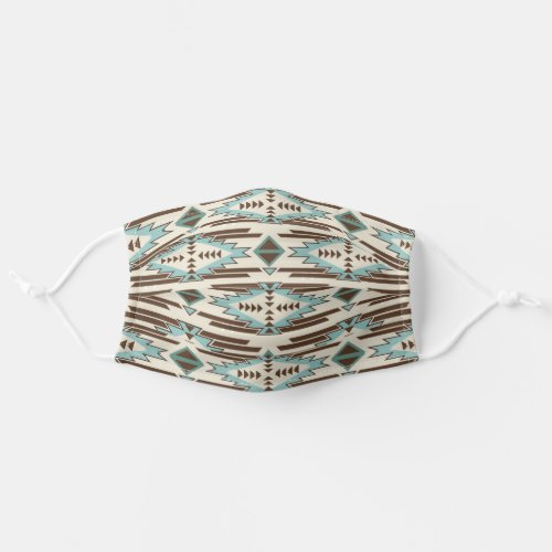 Blue and Brown Tribal Pattern Cloth Face Mask
