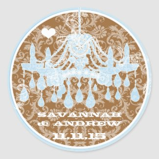Blue and Brown Vintage Damask Chandelier Stickers sticker
