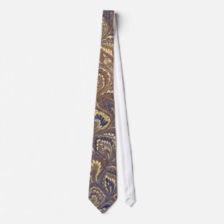 Blue and Brown Vintage Marbled Paper Neck Tie
