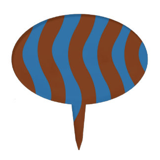 Blue and Brown Wave Stripes Cake Topper