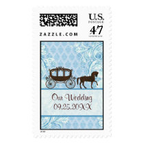 Blue And Brown Wedding Horse Custom Stamp