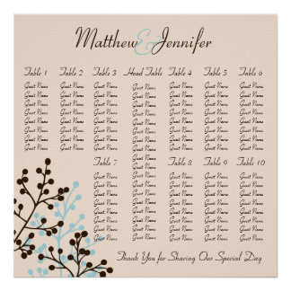 Blue and Brown Wedding Reception Seating Chart Print