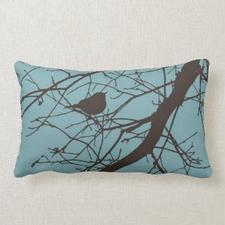Blue and Brown Winter Warbler Throw Pillow