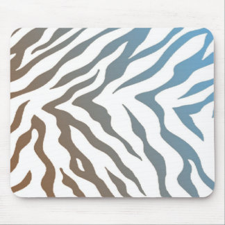 Blue and Brown Zebra Stripes Mouse Pad